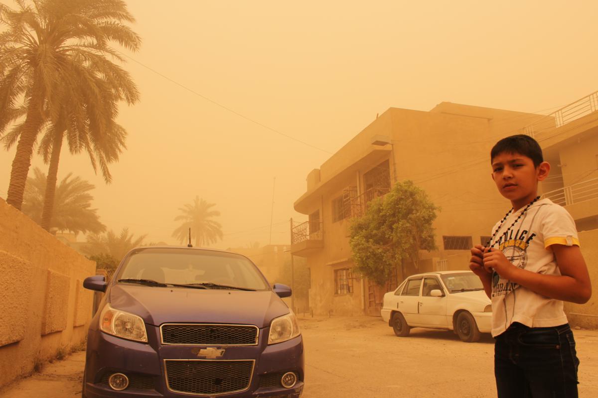 Nearby street on a dusty day.