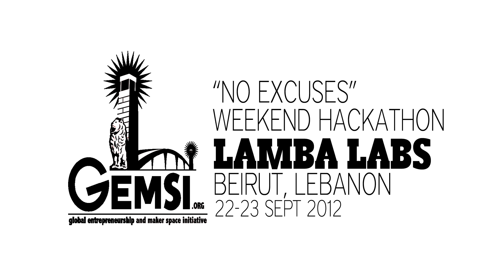 NoExcusesHackathon_Screen_Lamba Labs_Beirut_9Sept2012